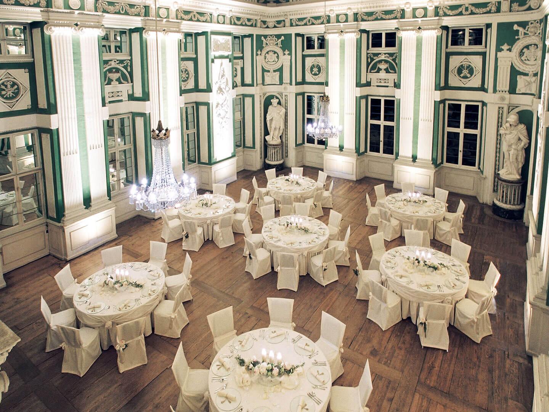 Grüner Saal unserer Hochzeitslocation im Odenwald